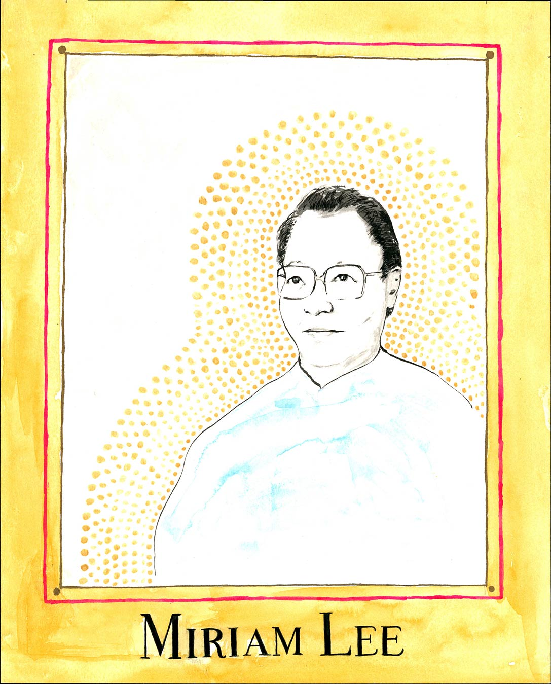 Drawn portrait of asian man with gold border