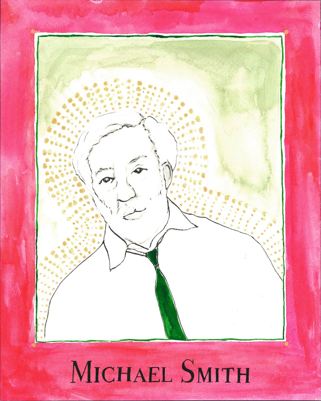 Drawn portrait of older white man with red border