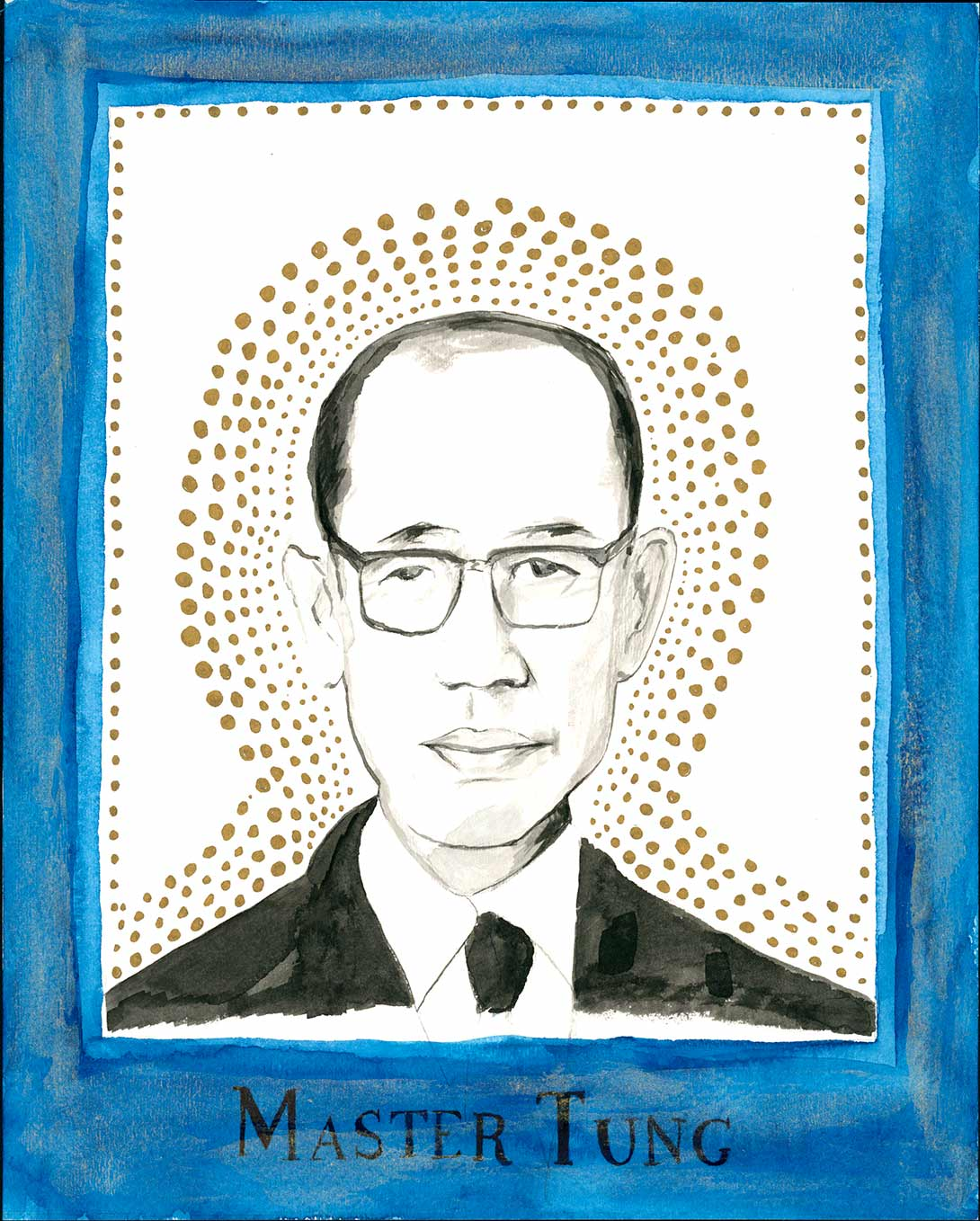 Drawn portrait of asian man with blue border